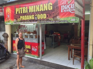 Katja in front of our favorite Warung