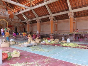 Preparation for Wednesdays ceremony at the local temple