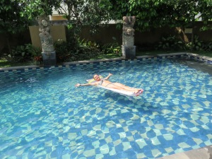 Katja enjoying time in the pool