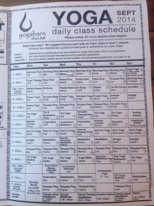 Yoga barn September schedule