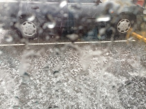Hailstorm as seen from inside the car