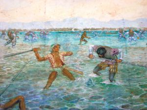 The fight between Lapu-Lapu and Magella, as depicted on Magellans shrine