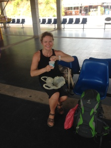 Katja having a yogurt before departure