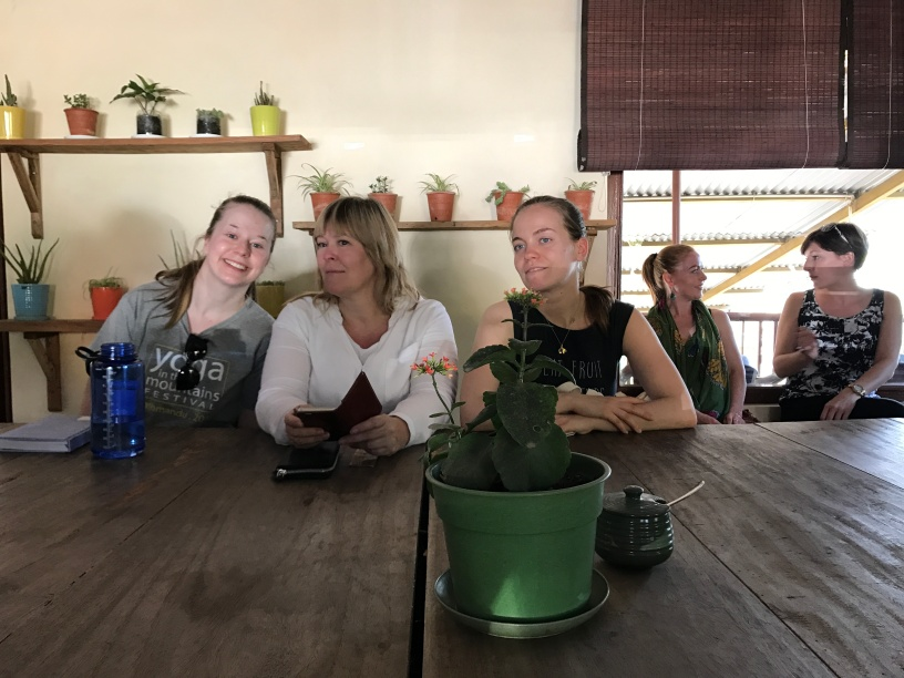 Betina, Elsa Birgit and Silje ready for Buddhist teachings